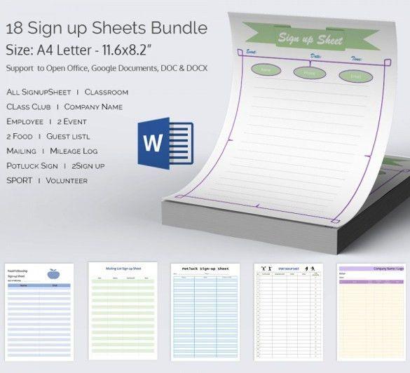 sign up sheet pdf