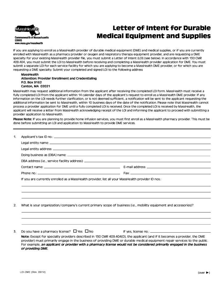 Letter of Intent for Durable Medical Equipment and Suppliers Free ...
