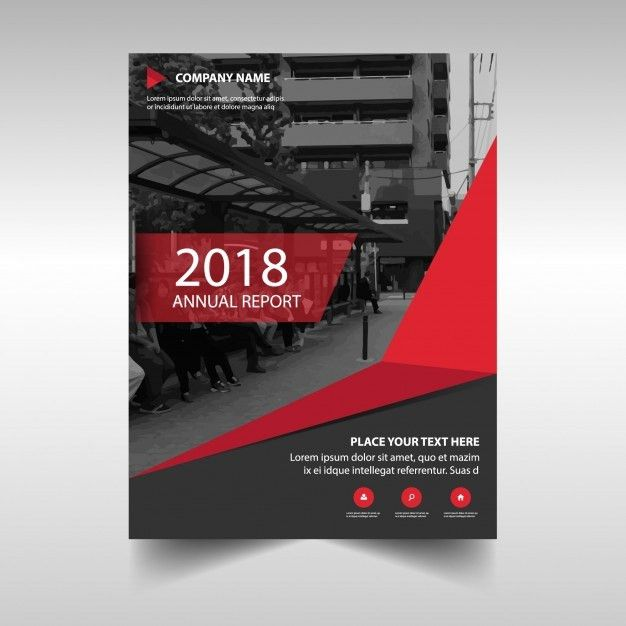 Red creative annual report cover template Vector | Free Download