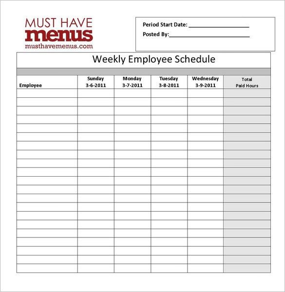Restaurant Schedule Template - 2 Free Excel, Word Documents ...
