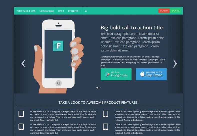 12+ Popular Bootstrap Landing Page Templates   Free & Premium ...