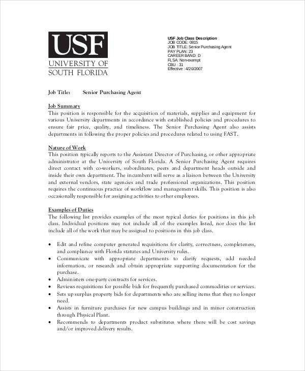 Purchasing Agent Job Description - 9+ Free PDF, Word Documents ...
