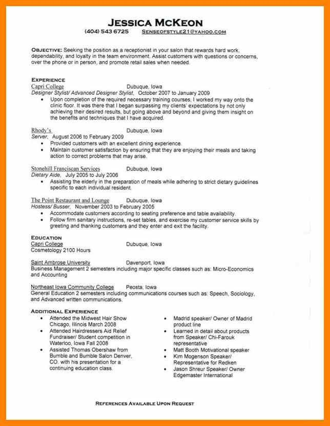Salon assistant resume objective