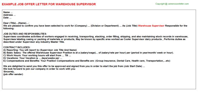 Warehouse Supervisor Offer Letter