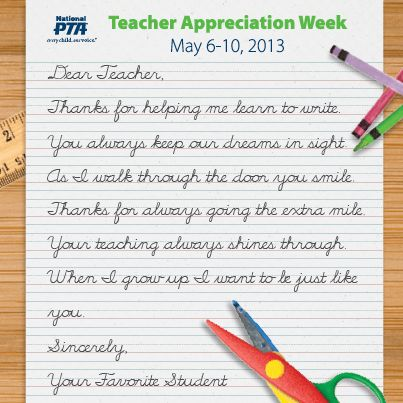 PTA Teacher Appreciation Week 2018 - May, 2018