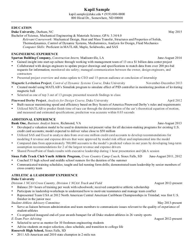Resume Mechanical Engineering - Senior