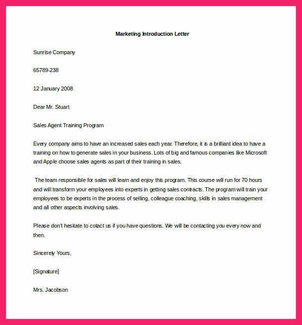 Sample Introduction Letter | Bio Letter Format  Marketing Introduction Letter Samples