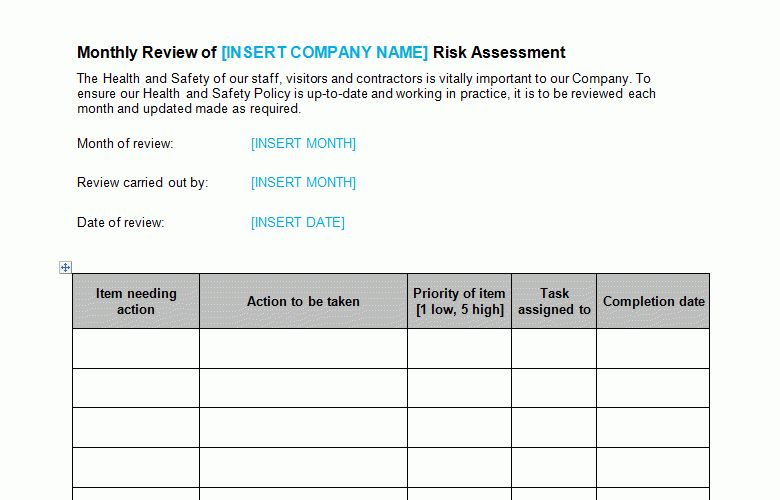 Risk Assessment Monthly Review Template - Bizorb