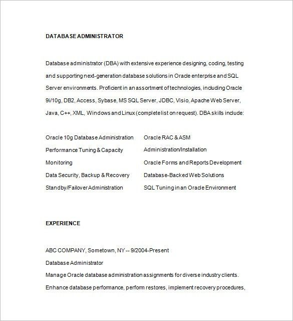 Database Administrator Resume Template - 15+ Free Samples ...
