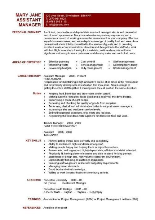 Fast Food Manager Resume Templates. manager experience resume best ...