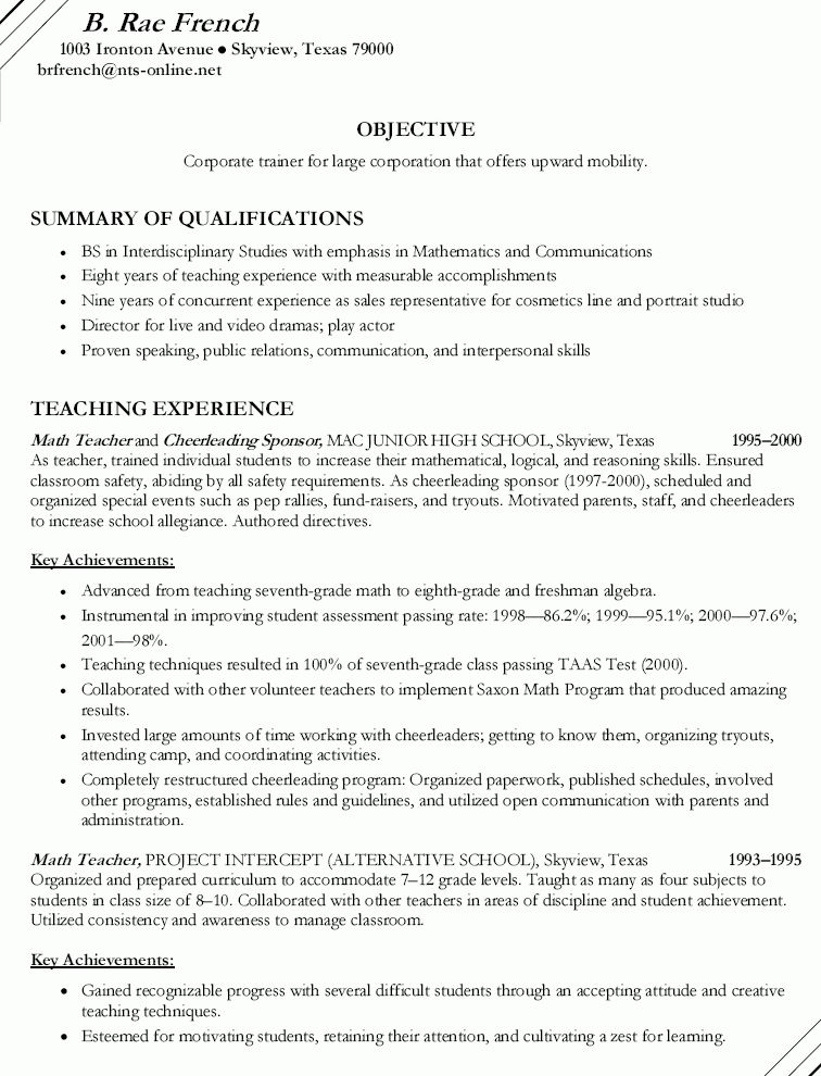 objective resume teacher resume examples resume objective teacher ...