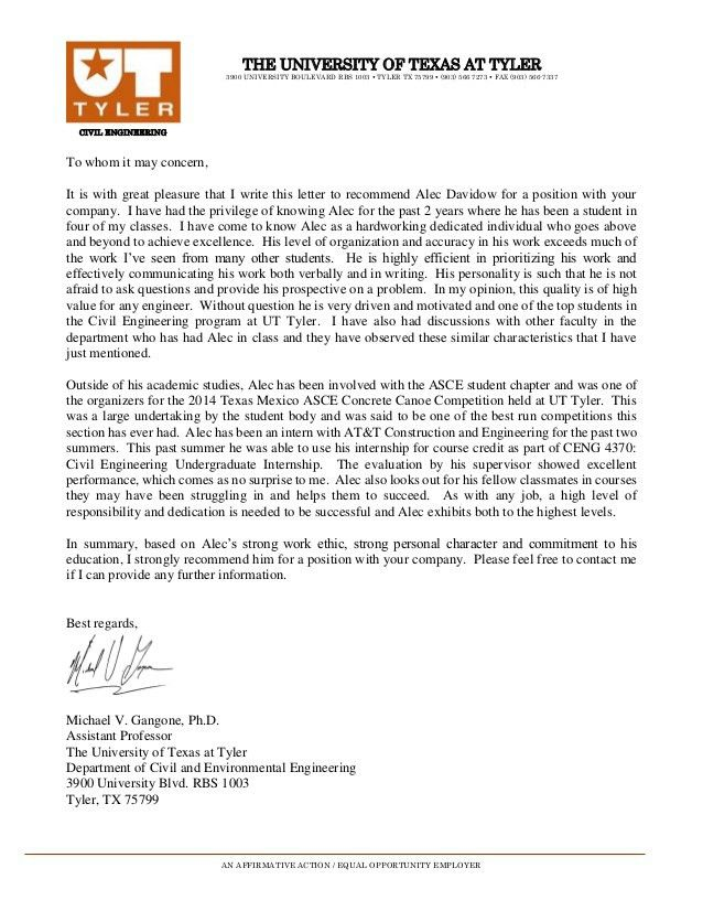Letter Of Recommendation For A Student. Recommendation Letter For ...