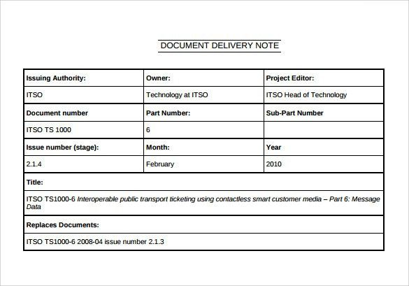 Sample Delivery Note - 17+ Documents in Word, PDF