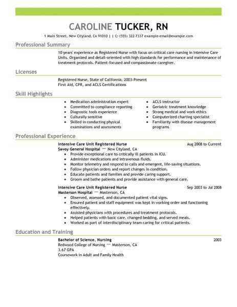 Free Rn Resume Template. Resume Examples For Registered Nurse Icu ...