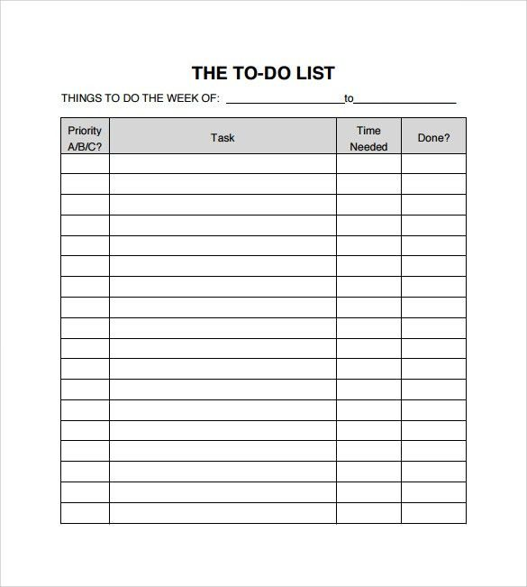 Sample To Do Checklist - 9+ Documents In PDF, Word