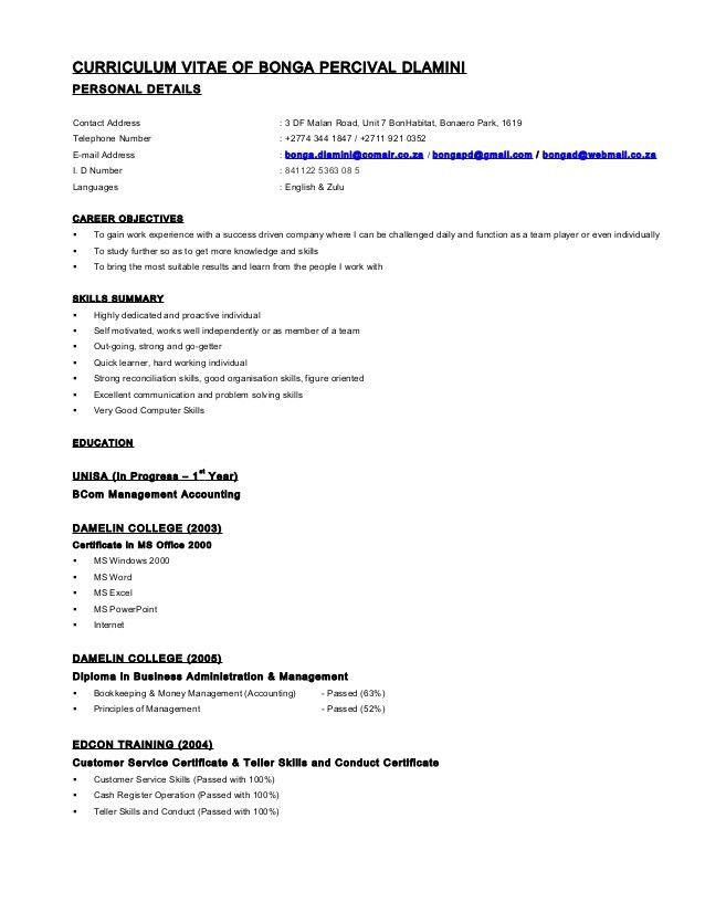 Curriculum Vitae of Bonga Dlamini (Resume Format)