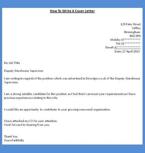 Writing a cover letter for a job with Writing A Cover Letter For A ...