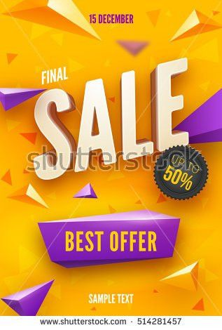 Final Sale Poster Flyer Design 3d Stock Vector 514281457 ...