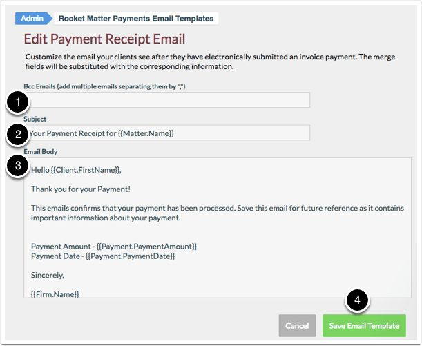 How Edit a Payment Receipt Email Template | Rocket Matter ...