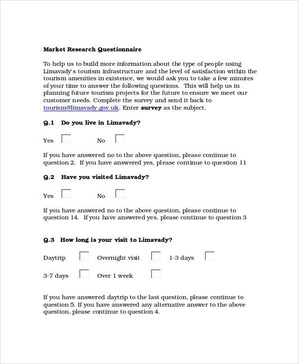Questionnaire Template Word - 8+ Free Word Document Downloads ...
