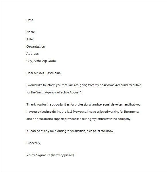 Notice of Resignation -11+ Free Samples, Examples, Format Download ...