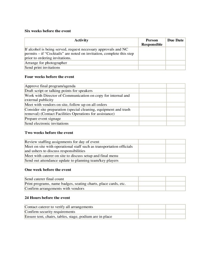 Timeline and Checklist for Event Planning Template Free Download