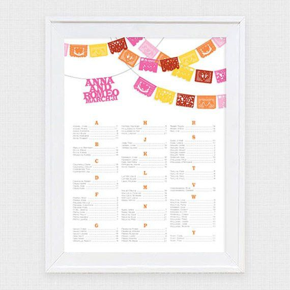 Fiesta Wedding Seating Chart Printable Seating Plan Papel Picado ...