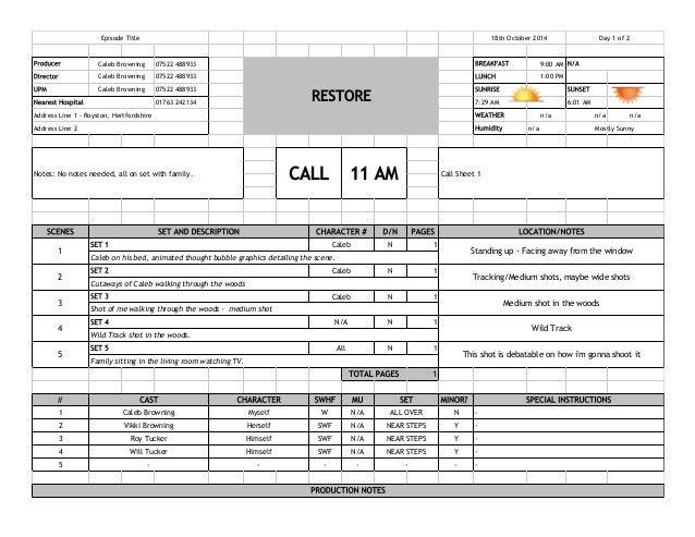 Call Sheet 2Call Sheet Template. The Very Best Call Sheet Template ...