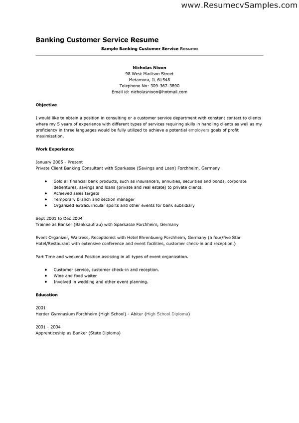 Resume Customer Service Objective Examples