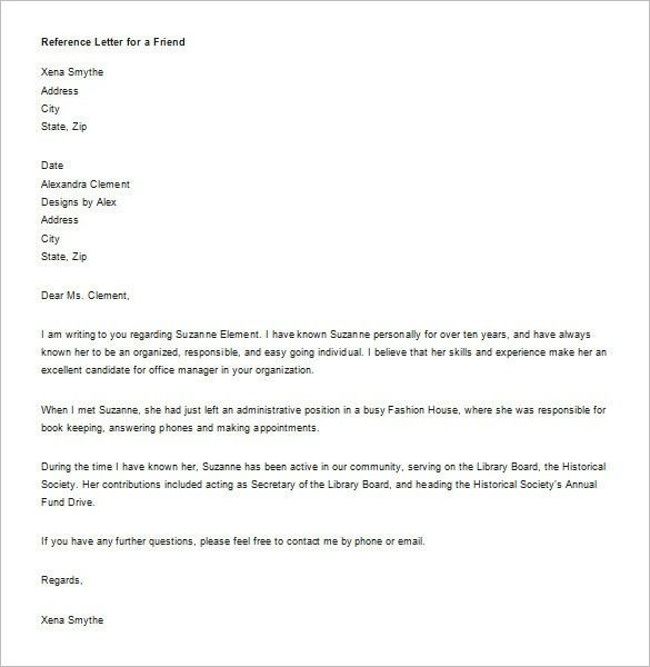 Reference Letter Format. Recommendation Letter For A Friend ...