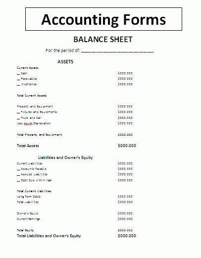 Blank Balance Sheet Template : Selimtd