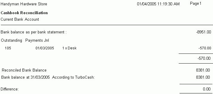 TurboCASH Accounting Software - View Bank Reconciliation Report