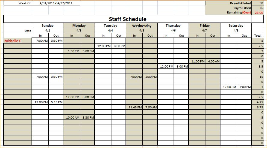 6+ work schedule template | Outline Templates