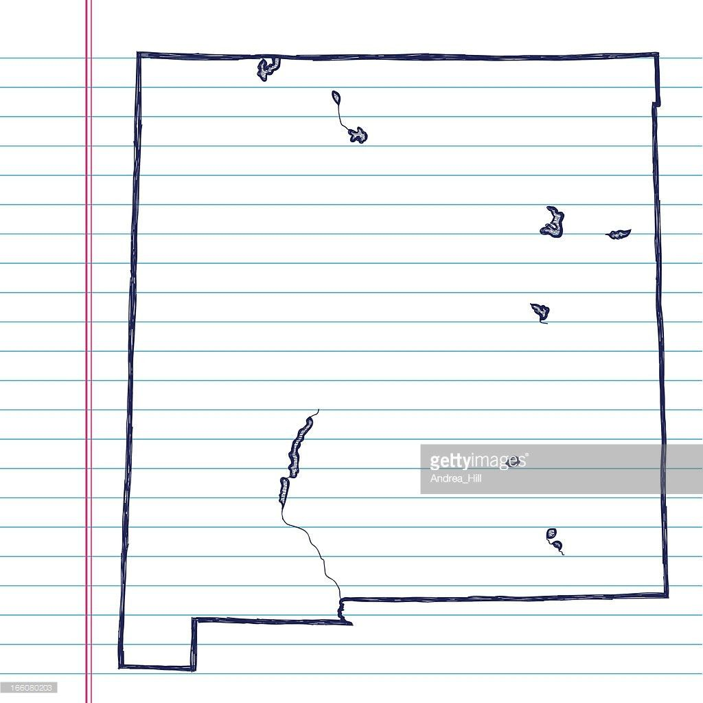 Vector Sketchy Map On White Lined Paper Background New Mexico ...