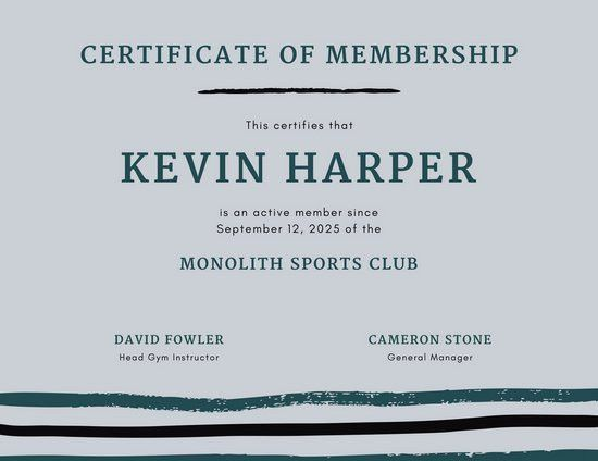Gray and Teal Lines Sports Membership Certificate - Templates by Canva
