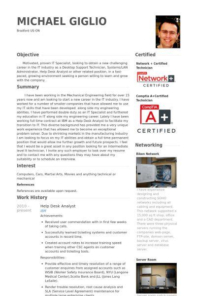 Help Desk Analyst CV Örneği - VisualCV Özgeçmiş Örnekleri Veritabanı