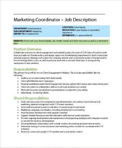 Sample Coordinator Job Description - 9+ Examples in PDF, Word