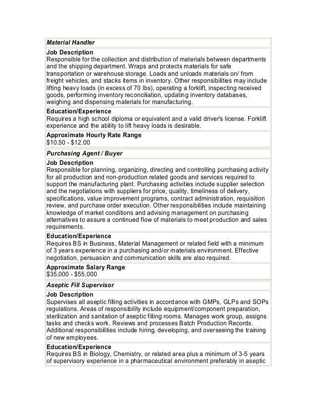 The Best Material Handler Job Description - SampleBusinessResume ...