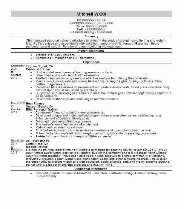 Best Fitness And Personal Trainer Resume Example | LiveCareer