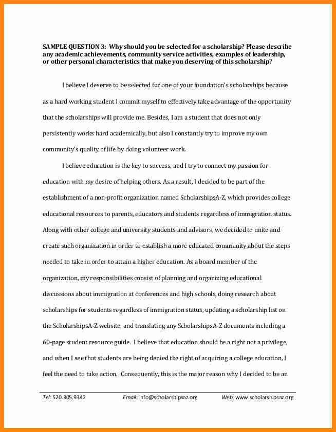 Scholarship Essay Example. Example Of Scholarship Essay Cover ...