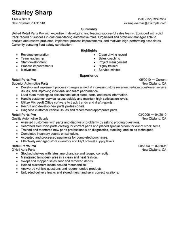 sample resume of part time retail resume. example of perfect ...
