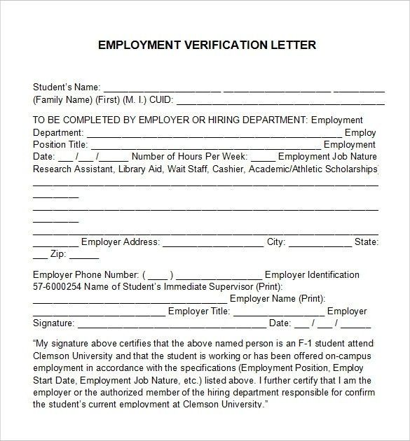 Employment Verification Letter Template WordBest Business Template ...