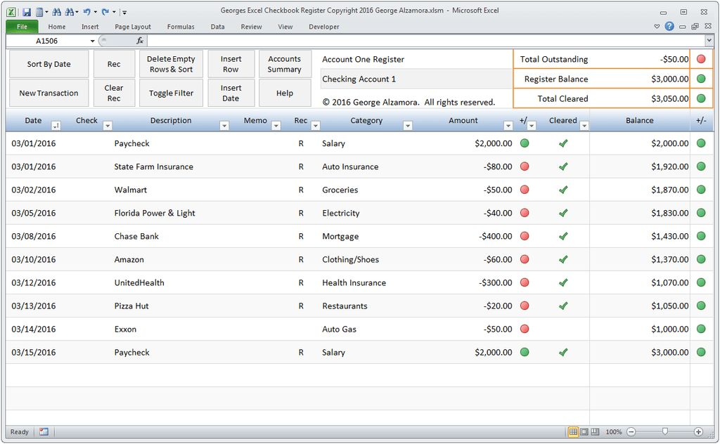 Microsoft Office Checkbook Register Template Excel Bank Account ...