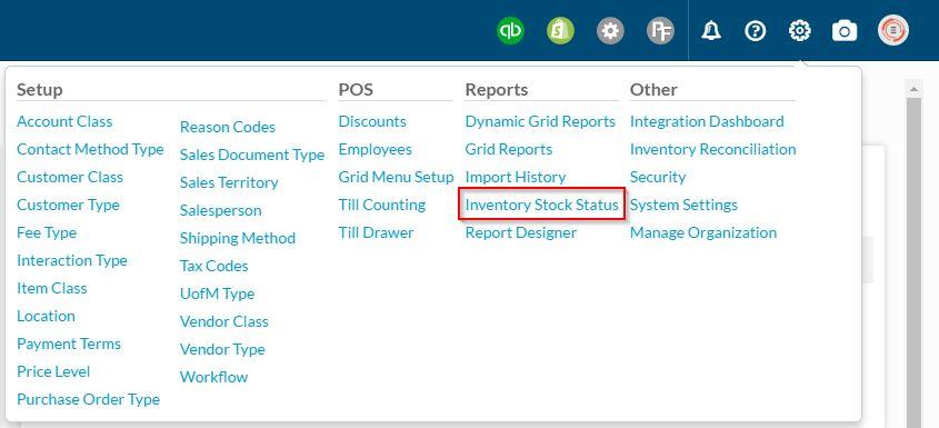 Inventory Stock Status - Support | SalesPad