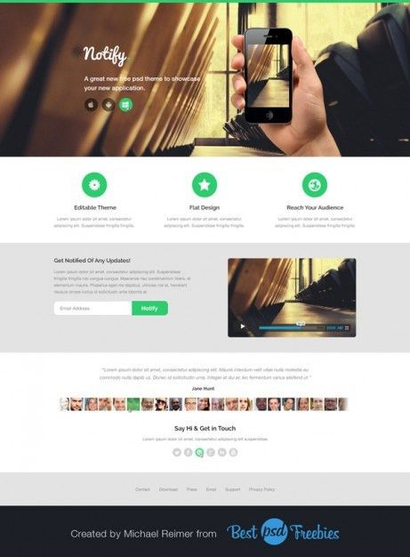 Modern landing page template PSD file | Free Download