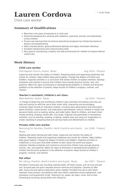 child care resume sample provider resume professional child care