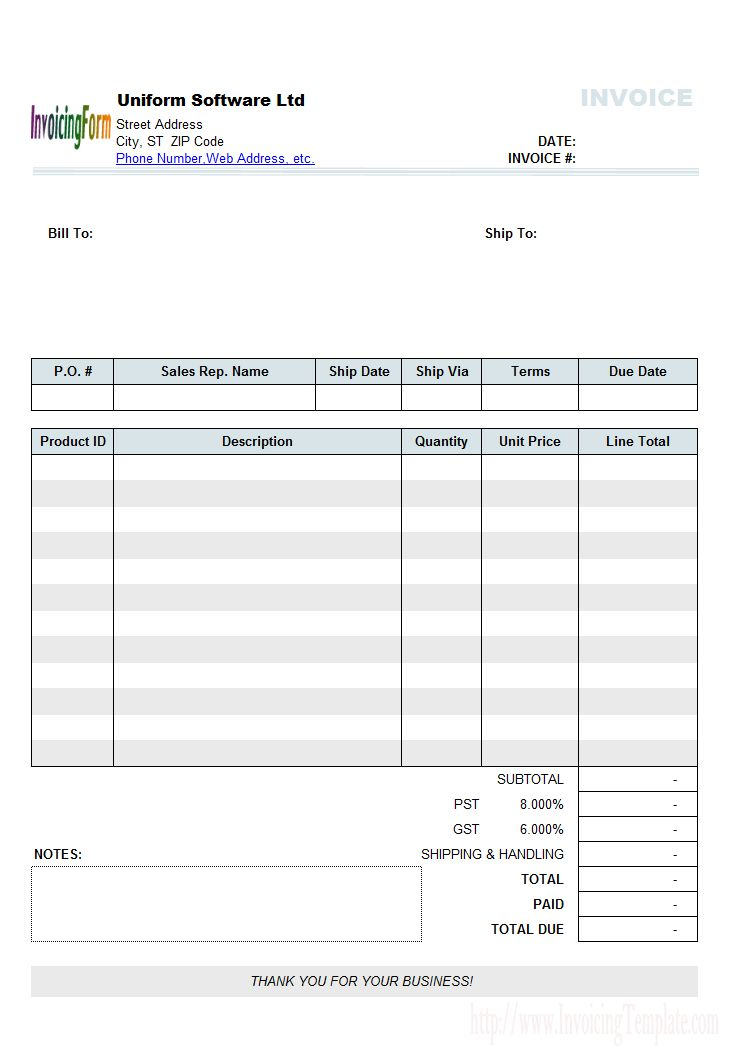 Sample Sales Invoice Template: Fixed Items