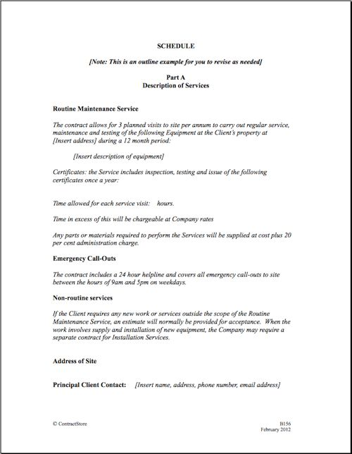 Maintenance Service Template Agreement - maintenance contract ...