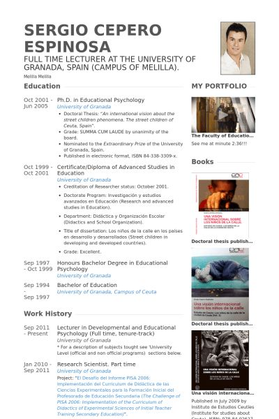 Lecturer Resume samples - VisualCV resume samples database