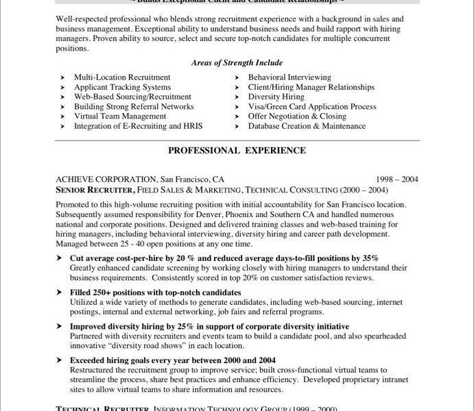 Crafty Recruiter Resume 1 HRRecruiter - Resume Example